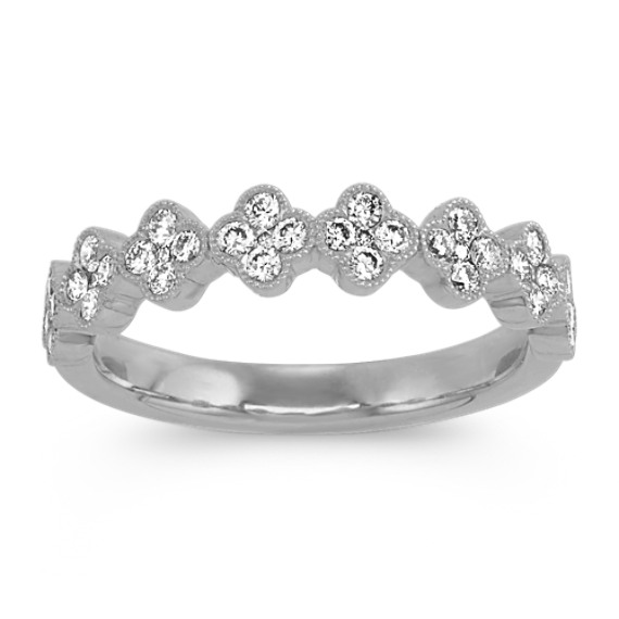 Vintage Diamond Cluster Ring in 14k White Gold