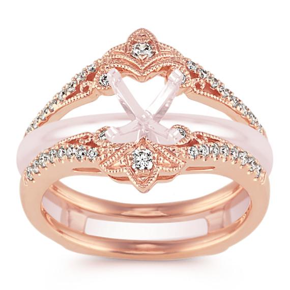 Vintage Diamond Contour Engagement Ring Guard