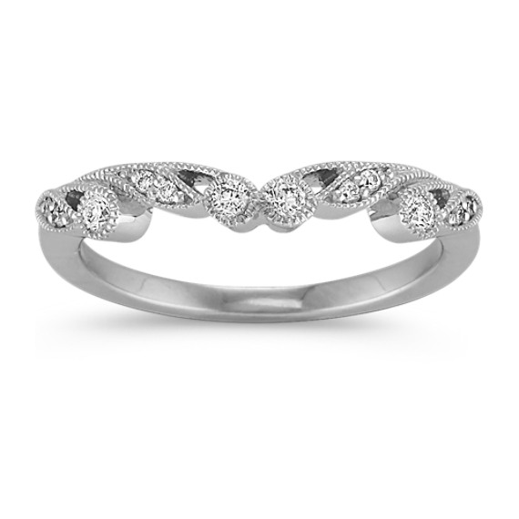 Vintage Diamond Contour Wedding Band in Platinum