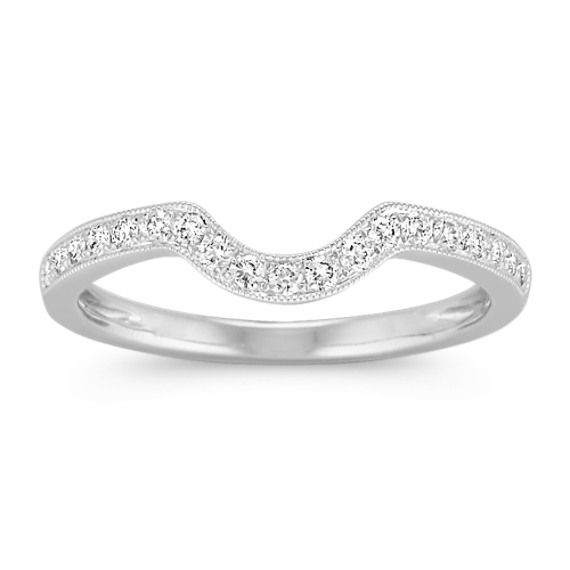 Vintage Diamond Contour Wedding Band with Pave Setting