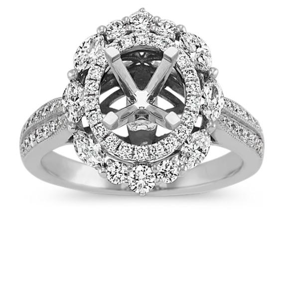 Vintage Diamond Double Halo Engagement Ring