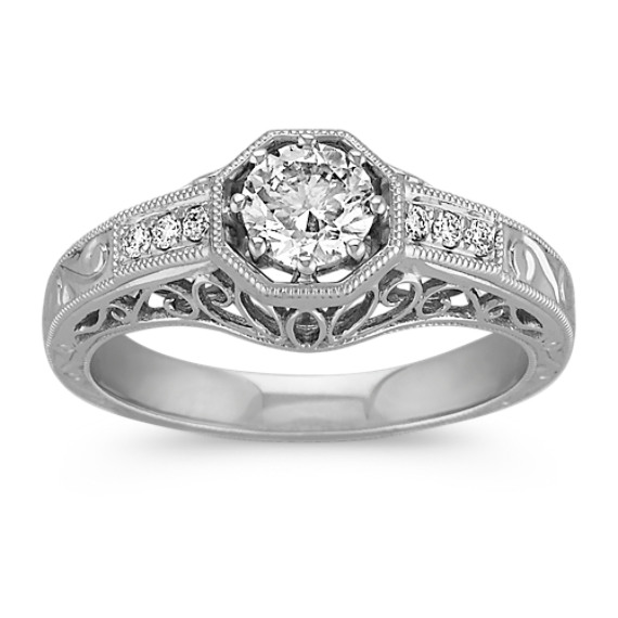 Vintage Diamond Engagement Ring with Engraving