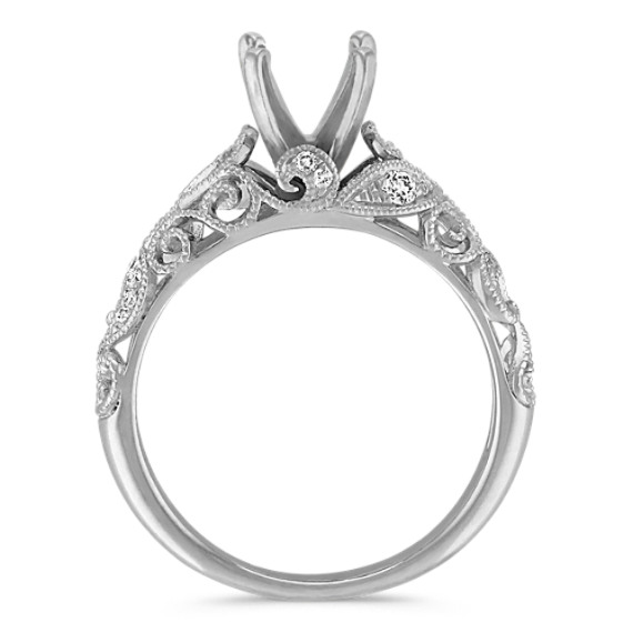 Vintage Diamond Engagement Ring with Pave-Setting in 14k White Gold image