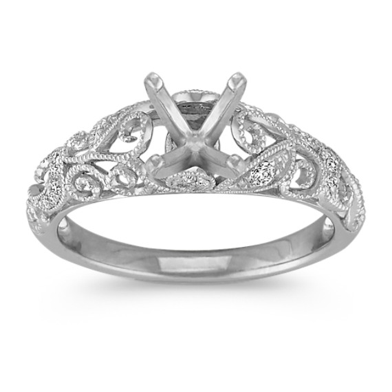Vintage Diamond Engagement Ring with Pave-Setting in 14k White Gold