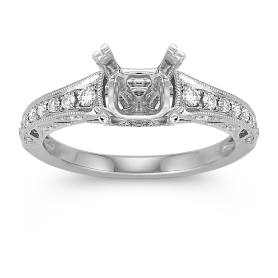 Vintage Diamond Engagement Ring with Pave Setting