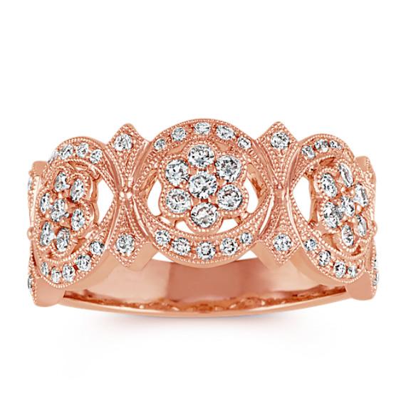 Vintage Diamond Floral Ring in 14k Rose Gold