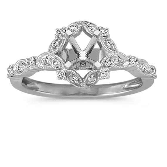 Vintage Diamond Halo Engagement Ring for 1.00 Carat Stone