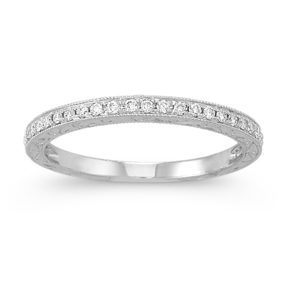 Vintage Engraved Diamond Wedding Band with Pave Setting Shane Co