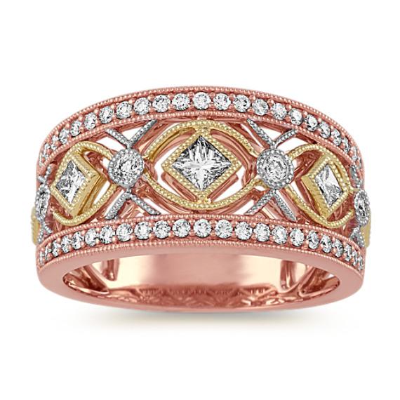 Vintage Diamond Ring in Tri-Tone 14k Gold