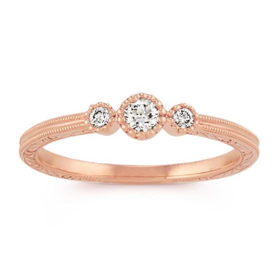 Vintage Diamond Stackable Three-Stone Ring in 14k Rose Gold