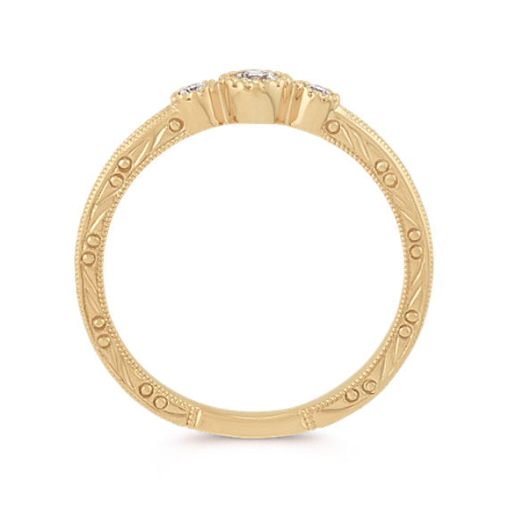 Vintage Diamond Stackable Three-Stone Ring in 14k Yellow Gold image