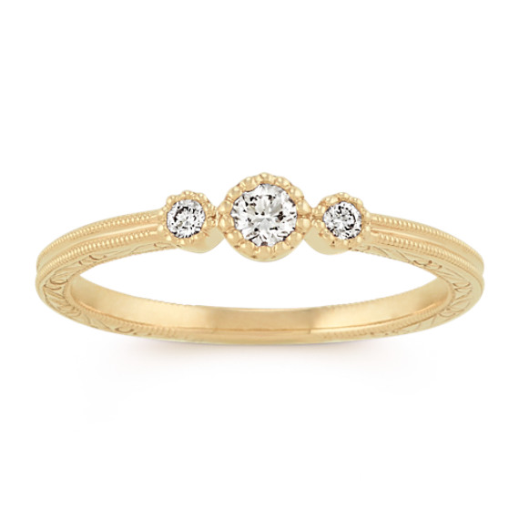 Vintage Diamond Stackable Three-Stone Ring in 14k Yellow Gold