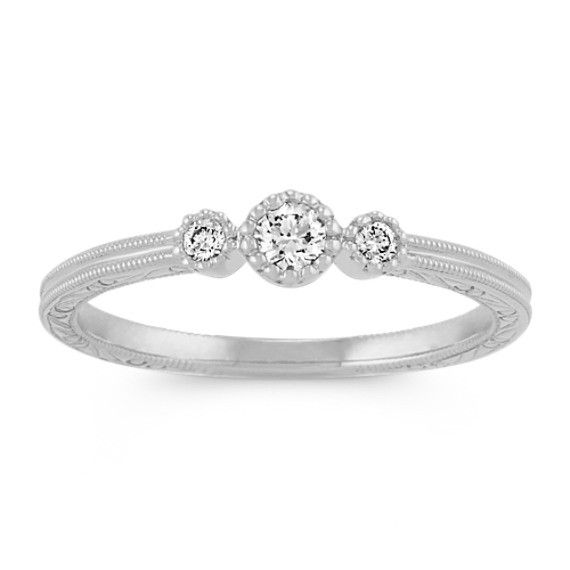 Vintage Diamond Stackable Three-Stone Ring in White Gold