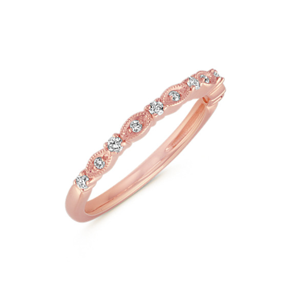 36837a5ac9f Vintage Diamond Wedding Band in 14k Rose Gold
