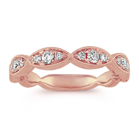 Vintage Diamond Wedding Band in 14k Rose Gold