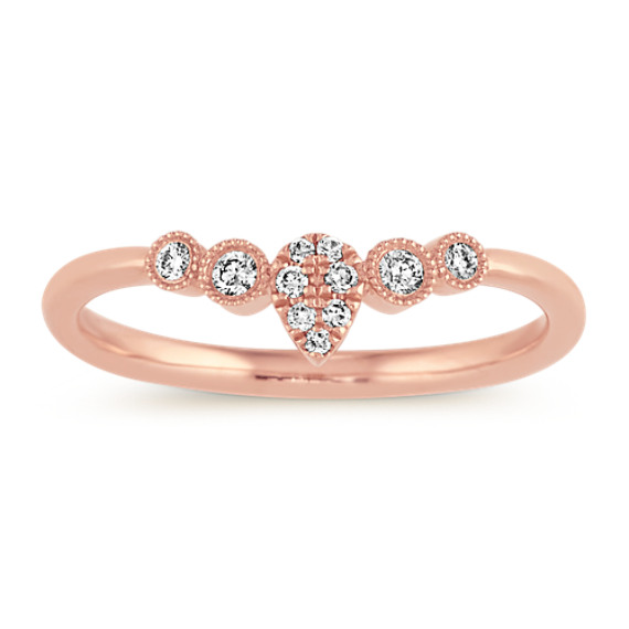 Vintage Diamond Wedding Band in 14k Rose Gold