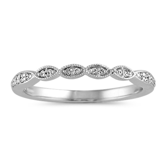 Vintage Diamond Wedding Band in 14k White Gold