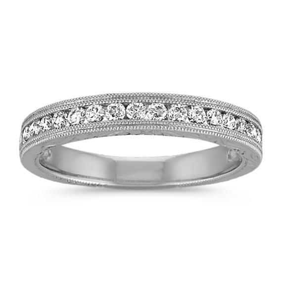 Vintage Diamond Wedding Band with Channel Setting in 14k White Gold