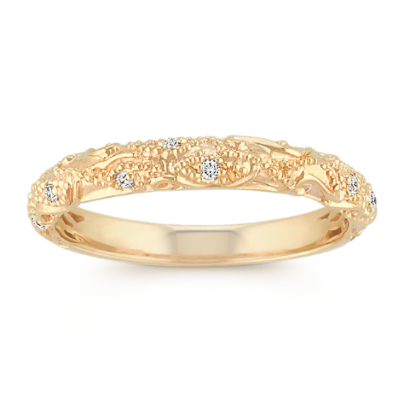 Vintage Diamond Wedding Band with Pave Setting in 14k Yellow Gold