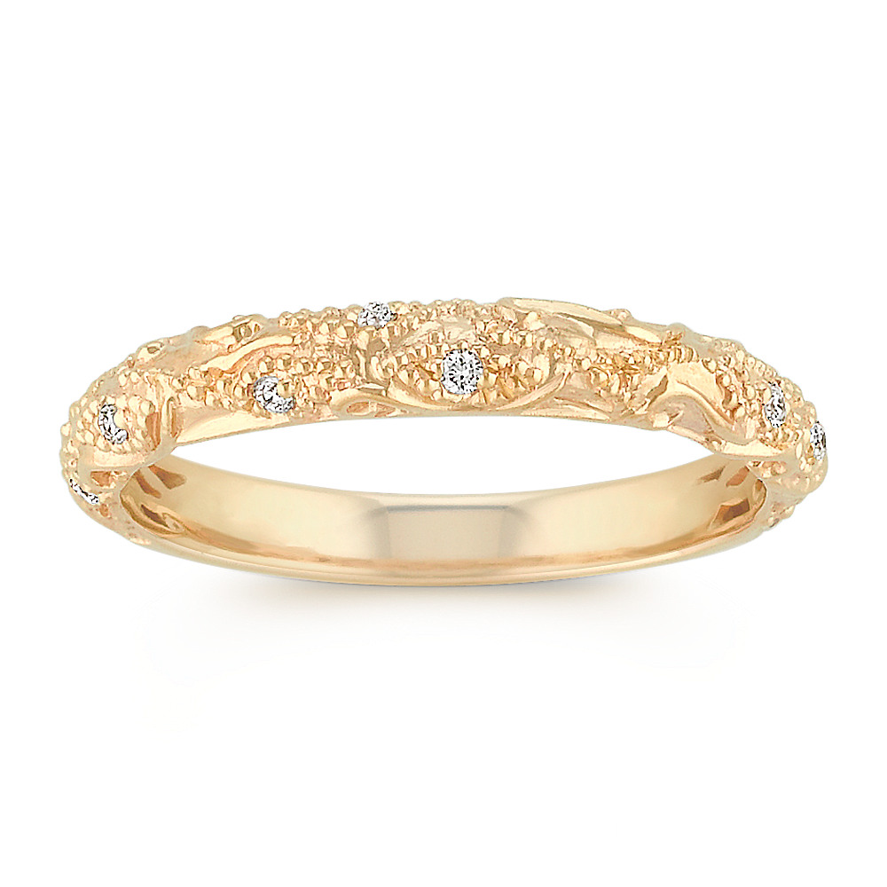 Vintage Diamond Wedding Band with Pave Setting in 14k Yellow Gold ...