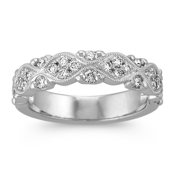 Vintage Diamond Wedding Band with Pave Setting