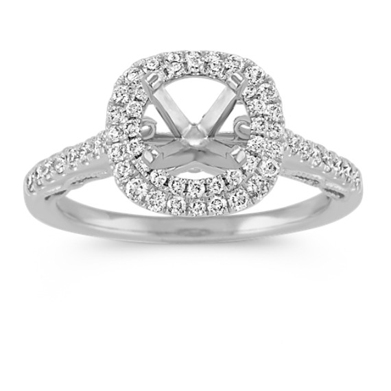 Vintage Double Halo Engagement Ring in Platinum