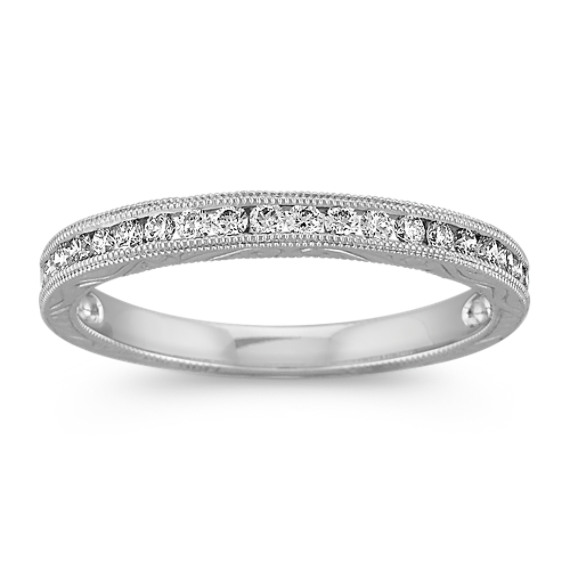 Vintage Engraved Diamond Wedding Band with Milgrain Detail in Platinum