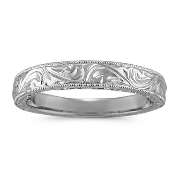 Vintage Engraved Platinum Ring