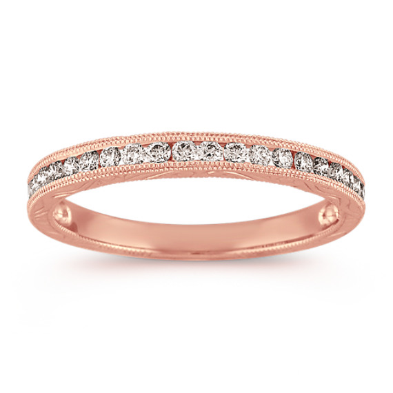 Vintage Engraved Round Diamond Wedding Band with Milgrain Details in Rose Gold