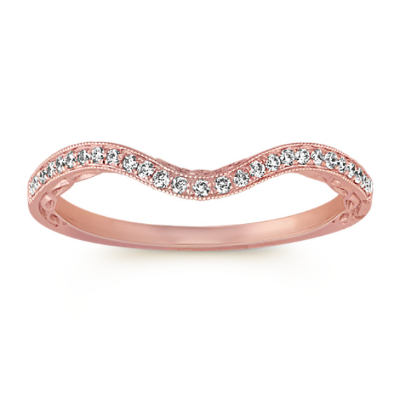 Vintage Filigree Round Diamond Contour Wedding Band in 14k Rose Gold