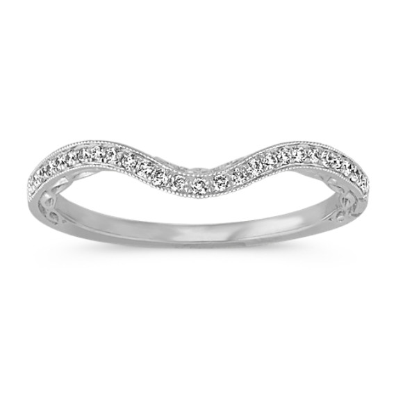 Vintage Filigree Round Diamond Contour Wedding Band in 14k White Gold