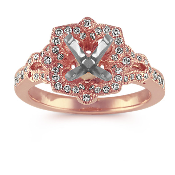 Vintage Floral Halo Diamond Engagement Ring in 14k Rose Gold