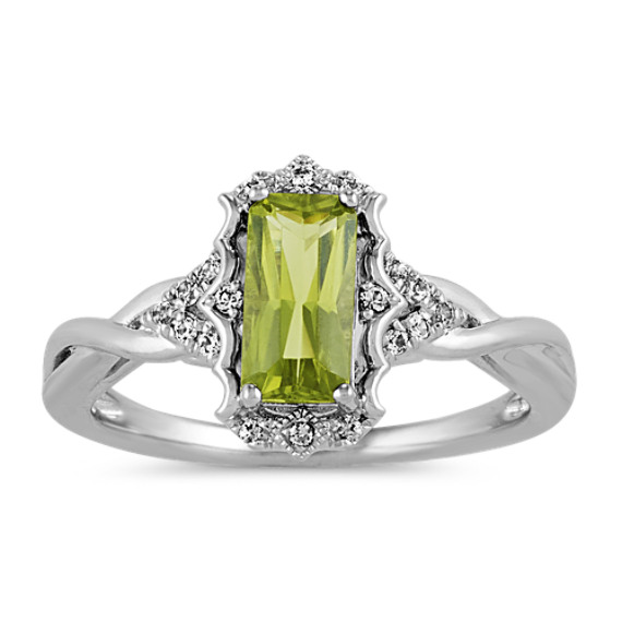 Vintage Green Peridot and White Sapphire Ring