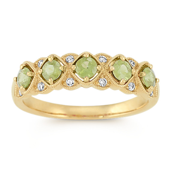 Vintage Green Sapphire and Diamond Fashion Ring