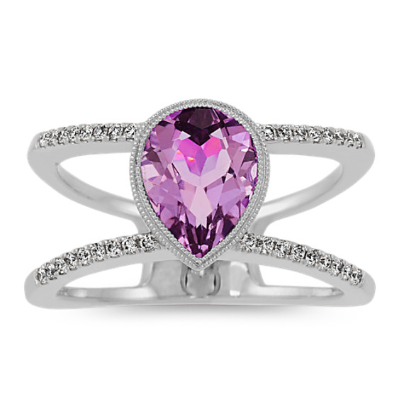 Vintage Halo Amethyst and Diamond Ring