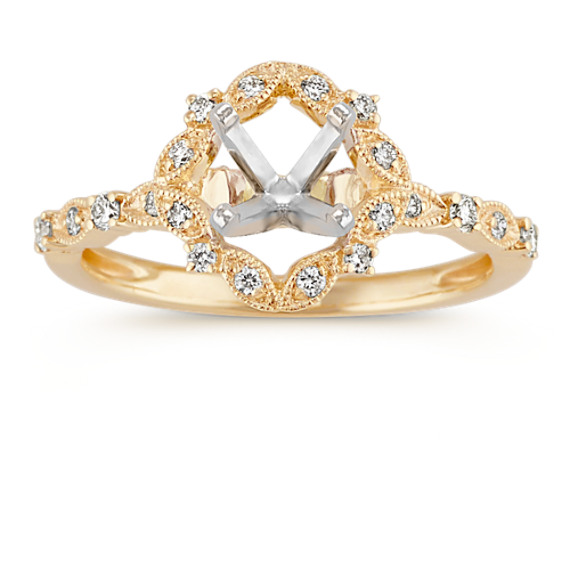 Vintage Halo Diamond Engagement Ring in 14k Yellow Gold