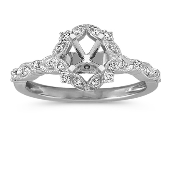 Vintage Halo Engagement Ring in Platinum for 0.50 Carat Stone