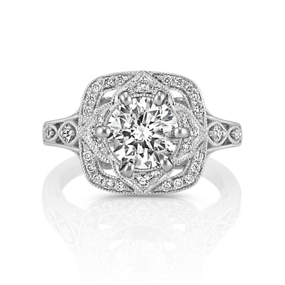 Vintage Halo Engagement Ring With Pave Set Round Diamonds Shane Co