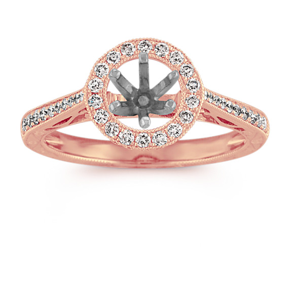 Vintage Halo Engagement Ring with Pave Setting in Rose Gold