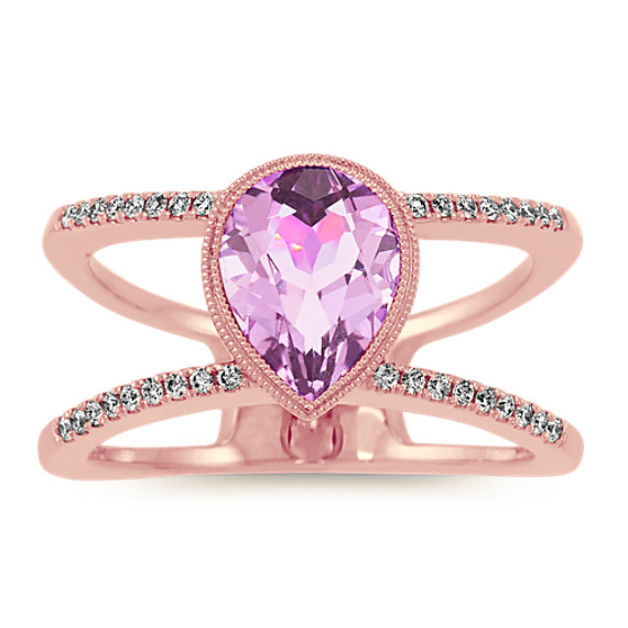 Vintage Halo Light Purple Amethyst and Diamond Ring