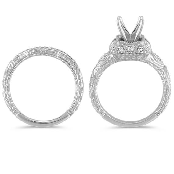 Vintage Halo Princess Cut Sapphire and Round Diamond Wedding Set image