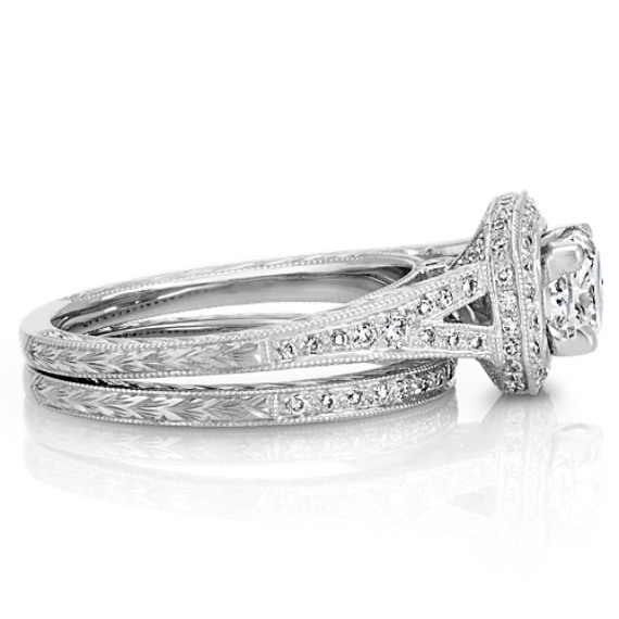 Vintage Halo Round Diamond Wedding Set In Platinum Shane Co