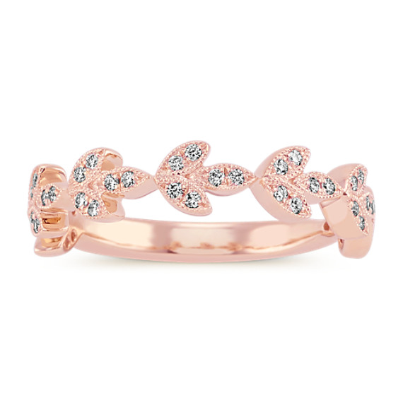 Vintage Leaf Diamond Wedding Band in 14k Rose Gold