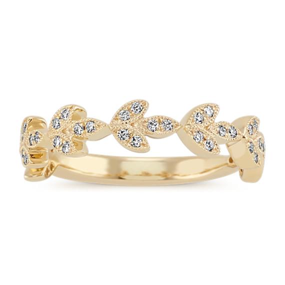 Vintage Leaf Round Diamond Wedding Band