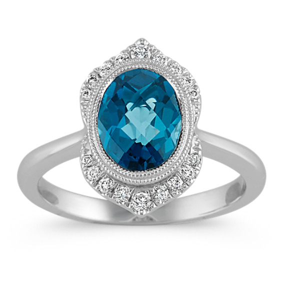 Vintage London Blue Topaz And Diamond Ring