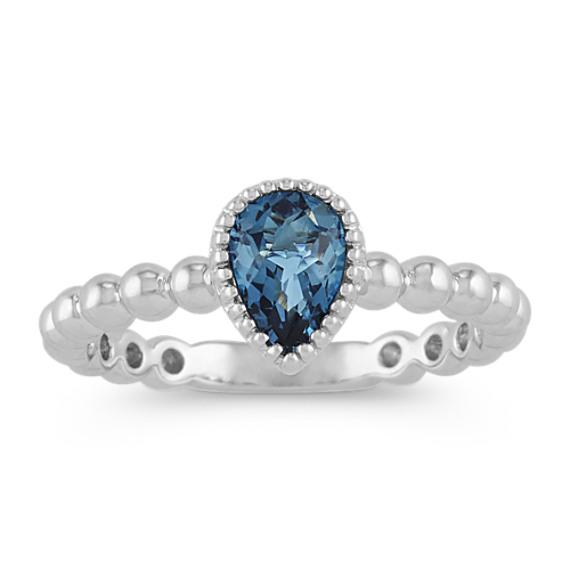 Vintage London Blue Topaz Ring in 14k White Gold