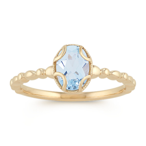 Vintage Oval Aquamarine 14k Yellow Gold Ring