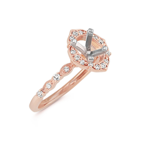 Vintage Oval Halo Diamond Engagement Ring in 14k Rose Gold Shane Co
