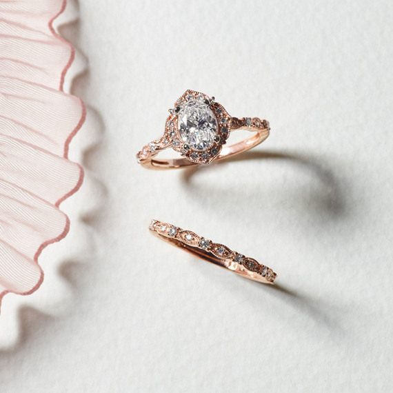 Shane Company Enement Rings | Vintage Oval Halo Diamond Engagement Ring In 14k Rose Gold Shane Co