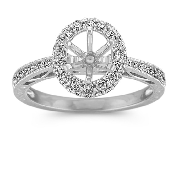 Vintage Oval Halo Engagement Ring with Pave Set Diamonds